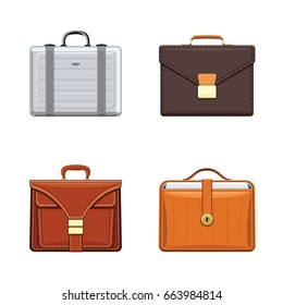 Briefcase and luxury leather attache case collection. Men`s trendy bags isolated on white background. Realistic flat style, vector illustration
