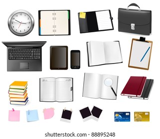 A briefcase, notebooks and some office and business supplies. Vector.