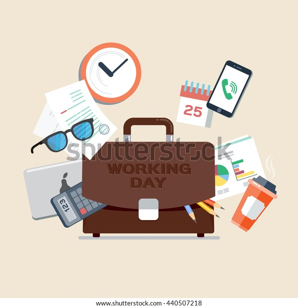 Briefcase with office things, smartphone, laptop, glasses, documents, cup of coffee, calendar, calculator. Manager, clerk, working day.  Vector, illustration, flat