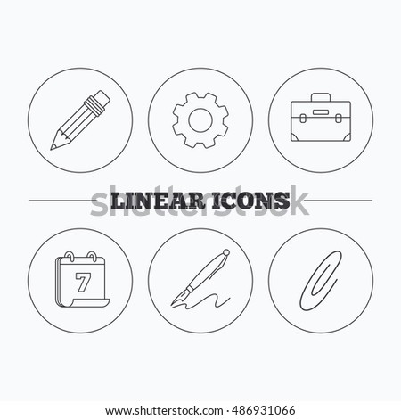 Briefcase Pencil Safety Pin Icons Stock Vector Royalty Free