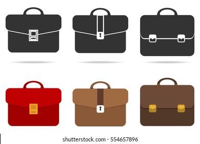 Briefcase, set of briefcase, bag, suitcase. Flat design, vector illustration, vector.