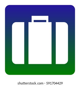 Briefcase sign illustration. Vector. White icon at green-blue gradient square with rounded corners on white background. Isolated.