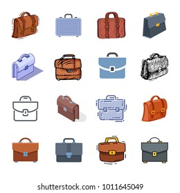 Briefcase vector business suitcase bag and baggage accessory for work or office illustration set bagged case isolated on white background