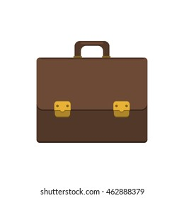 Briefcase vector illustration. Briefcase business. Briefcase in flat style. Briefcase icon. Briefcase isolated on colored background. Briefcase with lock. Briefcase male brown. - stock vector