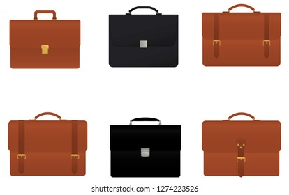 Briefcase, vector isolated on white background