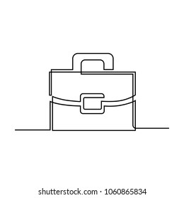 A briefcase working bag is drawn by a single line on a white background. One-line drawing. Continuous line. Vector Eps10