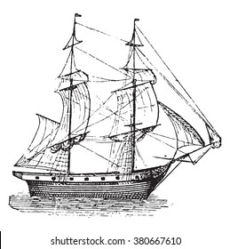 Brig, vintage engraved illustration. Dictionary of words and things - Larive and Fleury - 1895.
