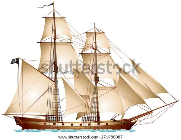 Image Vectorielle De Stock De Navire De Pirate De Brigantine Voilier 271988087