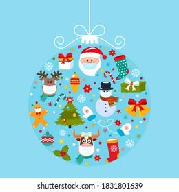 Hell 2019 Happy New Year Grußkarte Abstrakter Weihnachtsball mit Symbolen von Weihnachten Weihnachten, Weihnachtsbaum, Hirsch, Geschenk.Alle Charaktere in medizinischen Masken.Gesundheitsversorgung während der COVID-19 Pandemie.