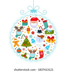 Bright 2019 Happy New Year greeting card Abstract Christmas ball with symbols of Christmas Santa, Christmas tree, deer, gift.All characters in medical masks.Health care during the COVID-19 pandemic.