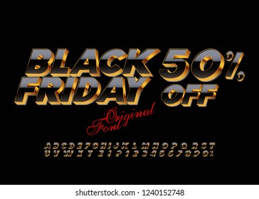 Bright 3D Font. Vector luxury Black Alphabet Letters, Numbers and Symbols.Black Friday sale banner.