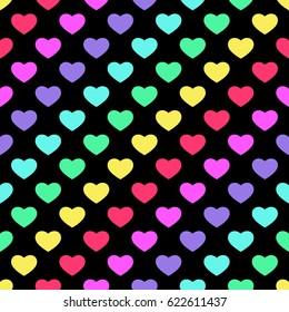 Bright 80s style rainbow hearts background