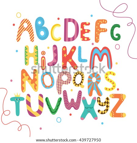Bright ABC For Kids Alphabet English Abc Letters With Face Eyes