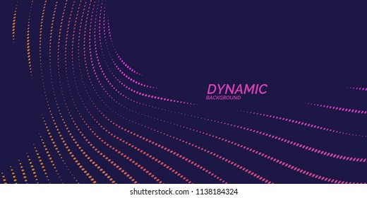Bright abstract background with a dynamic waves of minimalist style. Vector illustration for website design