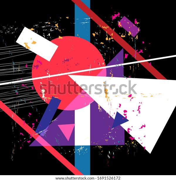 Bright abstract background with geometric objects. Design template for a poster or cover.