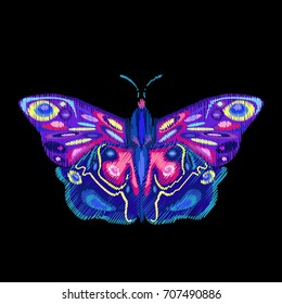 Bright abstract butterfly on dark background, vector illustration, embroidery, patch, sticker, badge