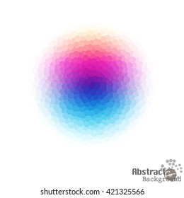Bright abstract colourful dotted crystal of Graphic on White Background