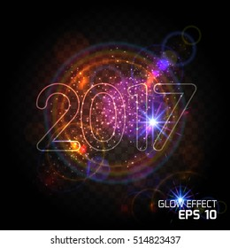Bright abstract design for Christmas and New Year, Letter glow effect, the effect of the bright dust explosion on transparent black background. Vector illustration