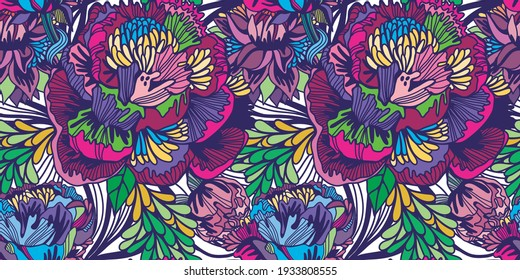 Bright Abstract Floral Pattern wallpaper seamless vintage flower pattern.