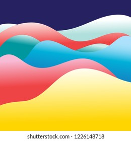 Bright abstract multicolored background with different waves and hills
