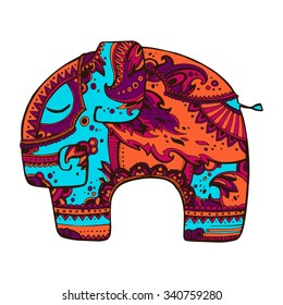 Bright abstract ornated indian elephant. Retro and ethnic style vector illustration. Hand drawn.