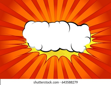 Bright abstract pop art comic book splash cloud. White graphic explosion speech bubble cloud on yellow splash over halftone red and orange gradient ray burst background. Vector illustration