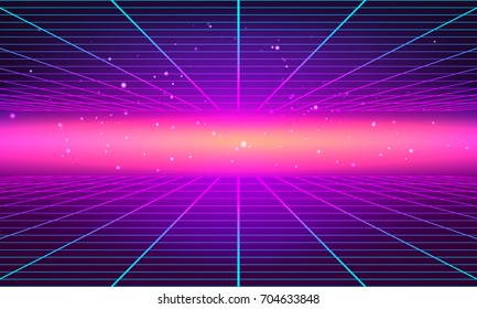 Bright abstract retro background made in 80s style. Abstract background with neon grids in vintage style. Vector illustration for your graphic design.