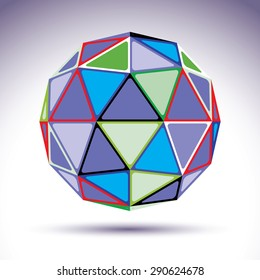 Bright abstract spherical object with kaleidoscope effect, 3d element. Modern orb constructed from colorful isosceles triangles.