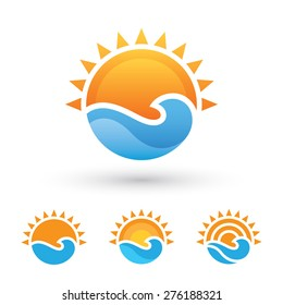 Bright abstract symbol with sun and sea wave in four variations isolated on white background