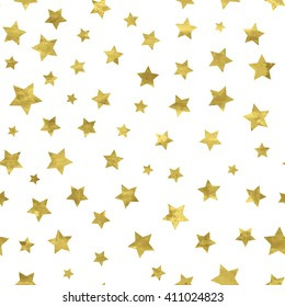Bright abstract  white  modern seamless pattern with golden stars. Vector illustration for wrapping, website, invitation or other design.Shiny gold background. Texture of gold foil.  Festive banner.