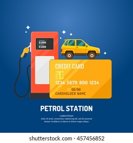 Bright advertising poster on the theme of gas station. Purchase fuel with a credit card. Vector illustration.