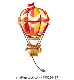 Bright aerostat isolated on white background. Vintage air transport for trip around the world, travels and romantic adventures. Vector cartoon close-up illustration.
