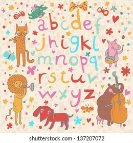 Bright alphabet with cute cartoon animals musicians. Cartoon letters and animals � leopard, pink, bear, dog, lion in vector