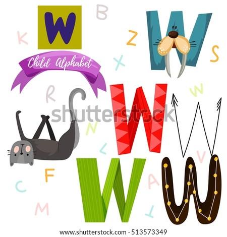 Bright Alphabet Set Vector W Letter Stylish 6 Stock Vector Royalty