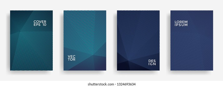 Bright annual report design vector collection. Gradient grid texture cover page layout templates set. Report covers geometric design, business brochure pages corporate templates.