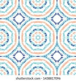 Bright Aqua, Orange and Blue Tie-Dye Shibori Sunburst Kaleidoscope Mirrored Hexagon Mandala Tiles on White Background Vector Seamless Pattern. Perfect for Spring-Summer Textiles, Stationery
