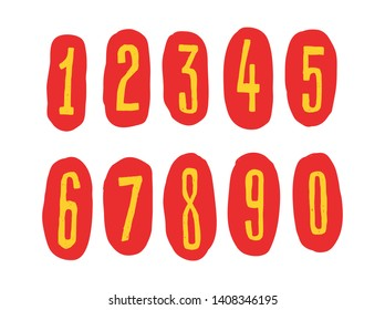Bright Arabic numerals. Vector. Linear, contour figures. Isometry, 3D. Bulk numbers. Full set of marks and numbers. All signs are separate. Cartoon circus style. Signs of dollar and euro.