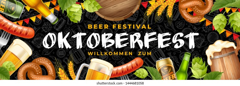 Bright and attractive Oktoberfest festive banner with different objects related with beer festival. Hand drawn doodle pattern on background. Vector illustration.