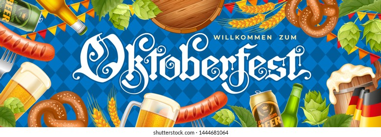 Bright and attractive Oktoberfest festive banner with different objects related with beer festival and calligraphy lettering. Traditional blue checkered pattern on background. Vector illustration.