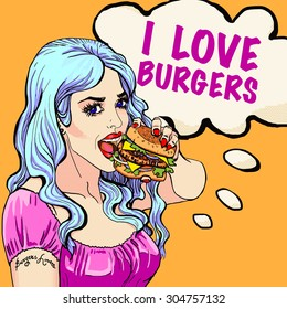 Bright attractive sexy cover blue hair girl with burgers, pop art retro hipster fashion I Love Burgers poster, cafe and fast food advertising, smile, bright hair, art, t-shirt print