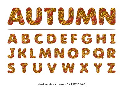 Bright autumn font. English alphabet. Texture from multi-colored yellow, red, orange leaves. Isolated letters on a white background. Vector illustration.