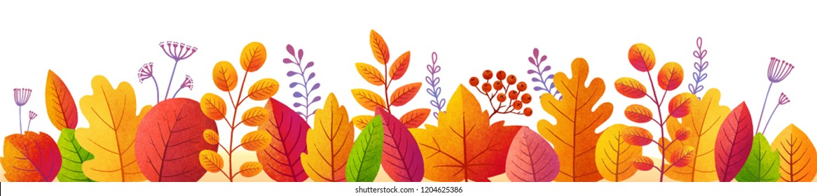 Bright autumn leaves in textured flat style, vector colorful fall foliage border