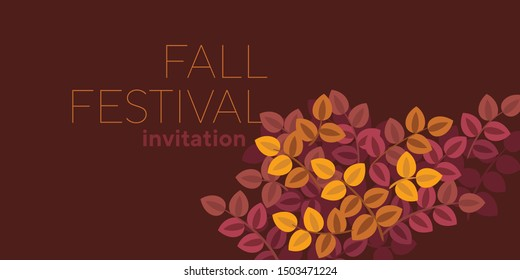 Bright autumn vector pattern for for card, header, invitation, poster, social media, post publication. Moron and yellow foliage leaves simple design composition.
