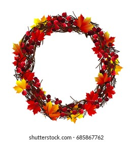 Bright autumn wreath of leaves branches and berries on a white background. Decor for invitations, greeting cards, posters.