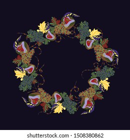 Bright, avant-garde, decorative wreath of fruits. Apples and grapes. Template for design. Healthy food advertising. Vegetarian products. Vector graphics. Isolated image