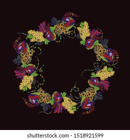 Bright, avant-garde, decorative wreath of fruits. Apples and grapes. Template for design. Healthy food advertising. Vegetarian products. Vector graphics. Isolated image.