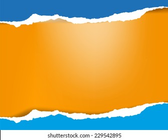 Bright azure blue torn paper background with shadow on orange background