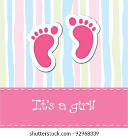 Bright baby girl arrival card shower invitation