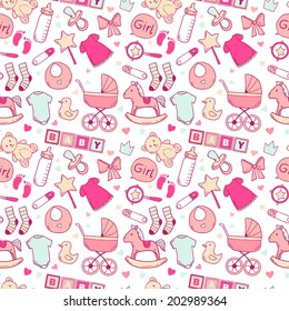 Bright baby girl seamless pattern with cute newborn elements