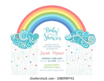 Bright Baby Shower invitation. Clouds and colourful rainbow on white background. Colored hearts. Vector template.
